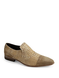 Just Cavalli - Crocodile-Embossed Suede Loafers/Tan