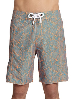 Trunks - Triangle-Print Board Shorts/Orange