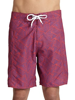 Trunks - Triangle-Print Board Shorts/Red