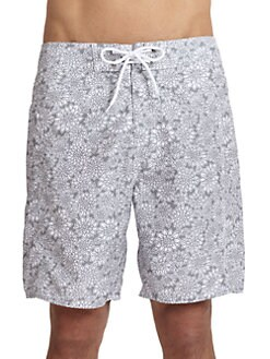 Trunks - Floral-Print Board Shorts/Grey