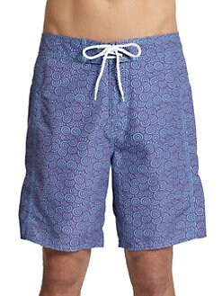 Trunks - Swirl-Print Board Shorts/Purple