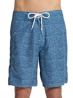 Trunks - Swirl-Print Board Shorts/Navy