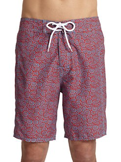 Trunks - Swirl-Print Board Shorts/Red