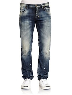 PRPS - Tibetan Ladder Distressed Straight-Leg Jeans