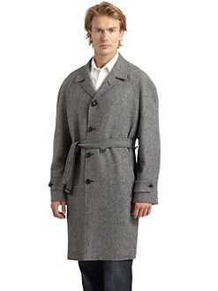 Hickey Freeman - Wool Herringbone Belted Coat/Black and White