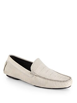 To Boot New York - Croc-Embossed Leather Driving Moccasins