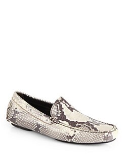 To Boot New York - Snakeskin-Embossed Leather Driving Moccasins
