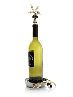Michael Aram - Olive Branch Wine Coaster & Stopper Set