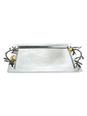 Pomegranate 24K Yellow Goldplated Stainless Steel & Oxidized Brass Serving Tray