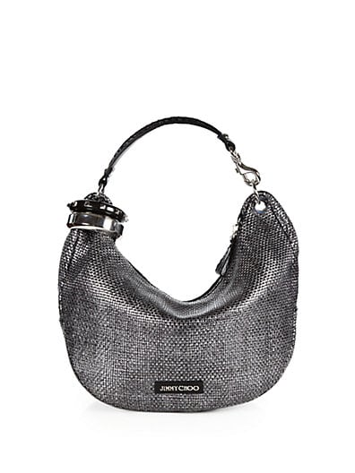 Solar Small Studded Bangle Metallic Woven Hobo
