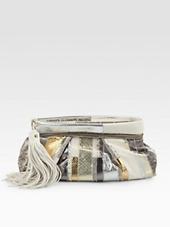 Jimmy Choo - Metallic Snakeskin Patchwork Clutch