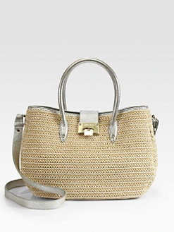 Jimmy Choo - Rania Raffia & Metallic Leather Satchel