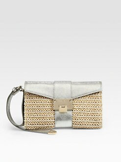 Jimmy Choo - Rivera Raffia & Metallic Leather Flap Clutch