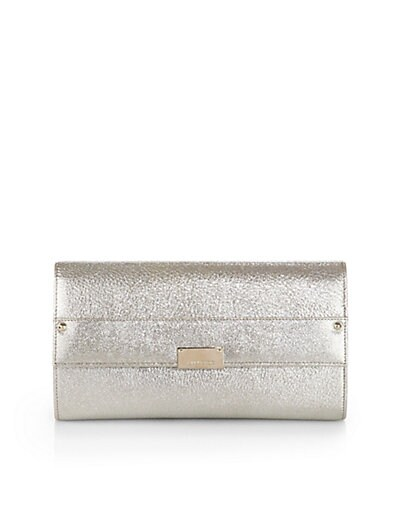 Reese Metallic Leather Clutch
