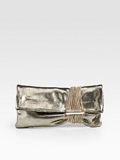 Jimmy Choo - Chandra Metallic Lizard-Embossed Leather Multi-Chain Clutch