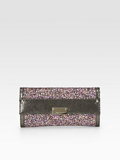 Jimmy Choo - Reese Coarse Glitter Continental Wallet