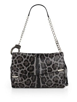 Jimmy Choo - Ally Leopard-Print Calf Hair Handcuff Shoulder Bag