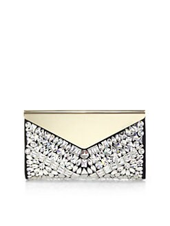 Jimmy Choo - Embellished Suede & Metal Clutch