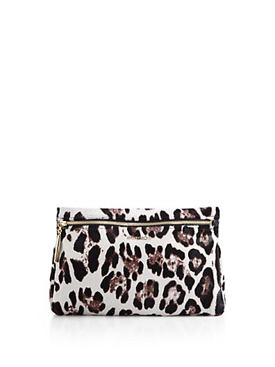 Zena Leopard-Print Calf Hair Pouch