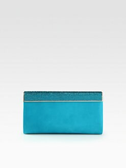 Jimmy Choo - Cayla Wetlook Leather & Pave Clutch