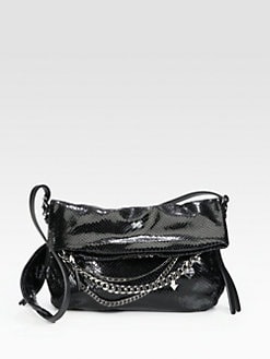 Jimmy Choo - Biker Small Snake Embossed Leather Shoulder Bag