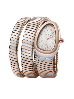 BVLGARI | Serpenti Tubogas Rose Gold & Stainless Steel Double Twist Watch | Goxip