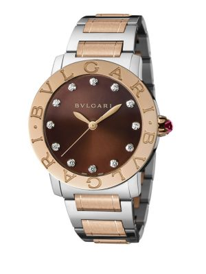 Bvlgari-Bvlgari Diamond, 18K Rose Gold & Stainless Steel Bracelet Watch
