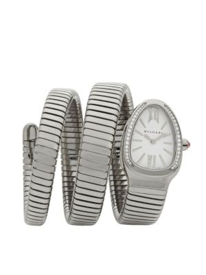 Serpenti Diamond & Stainless Steel Wraparound Tubogas Bracelet Watch