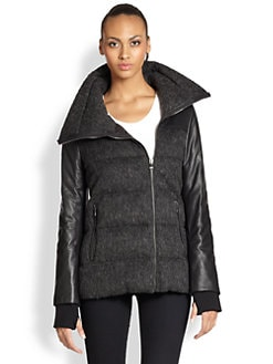 Ashley B - Leather-Contrast Down Coat