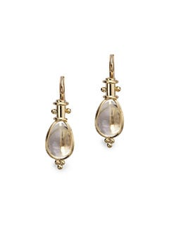Temple St. Clair - Rock Crystal & 18K Yellow Gold Drop Earrings