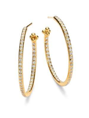 "Classic Diamond & 18K Yellow Gold Hoop Earrings/1.2"""