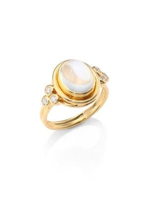 Classic Oval Diamond, Royal Blue Moonstone & 18K Yellow Gold Ring