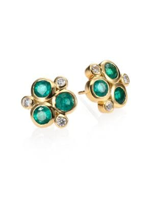 Classic Color Emerald, Diamond & 18K Yellow Gold Trio Earrings