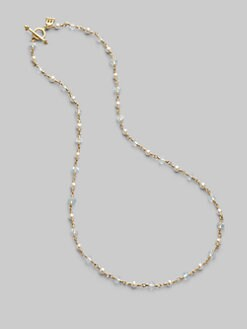 Temple St. Clair - Aquamarine, Freshwater Pearl & 18K Yellow Gold Necklace