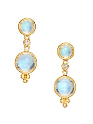 Royal Blue Moonstone, Diamond & 18K Yellow Gold Double-Drop Earrings