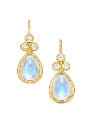 Royal Blue Moonstone, Diamond & 18K Yellow Gold Teardrop Earrings