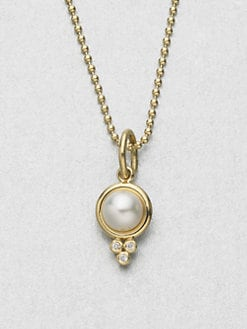 Temple St. Clair - Diamond Accented Cultured Pearl 18K Gold Enhancer