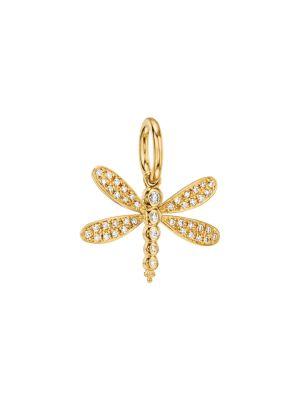 Tree of Life Diamond & 18K Yellow Gold Dragonfly Enhancer