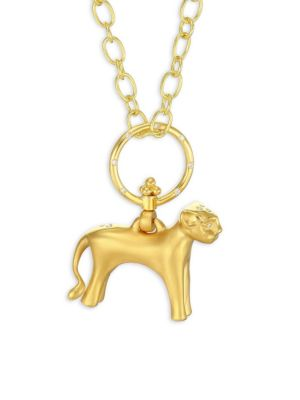 Standing Lion Diamond & 18K Yellow Gold Pendant