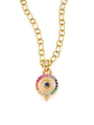 TEMPLE ST. CLAIR Mini Pendant With Mixed Colored Sapphires