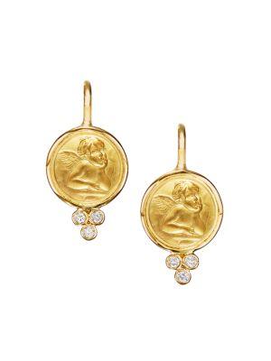 Angel 18K Yellow Gold & Diamond Drop Earrings