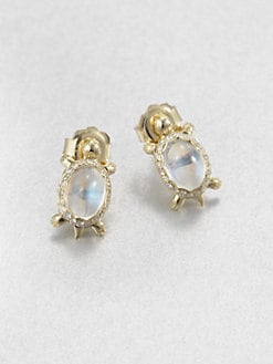 Temple St. Clair - Royal Blue Moonstone & 18K Gold Turtle Button Earrings