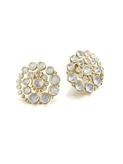 Temple St. Clair - Royal Blue Moonstone & 18K Gold Whirl Button Earrings
