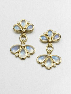 Temple St. Clair - Royal Blue Moonstone & 18K Gold Fan Drop Earrings
