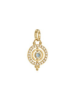 Temple St. Clair - Royal Blue Moonstone & 18K Gold Dual Ring Pendant