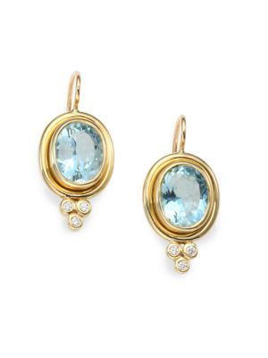 Classic Color Aquamarine, Diamond & 18K Yellow Gold Oval Drop Earrings