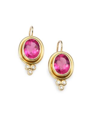 Classic Color Pink Tourmaline, Diamond & 18K Yellow Gold Oval Drop Earrings