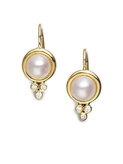 Temple St. Clair - Diamond Accented Cultured Pearl 18K Gold Earrings