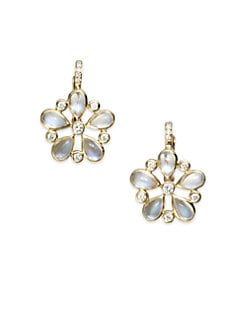 Temple St. Clair - Diamond Accented Blue Moonstone Floral Earrings