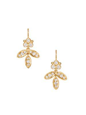 Foglia Diamond & 18K Yellow Gold Earrings